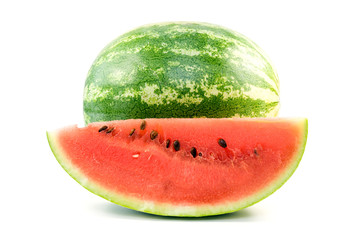 freshly cut watermelon over a white background .