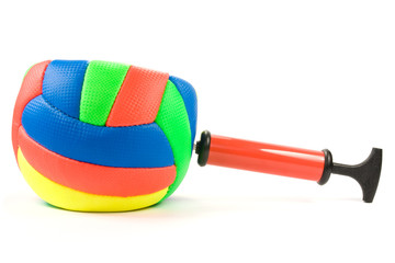 Air pump and color ball over a white background.
