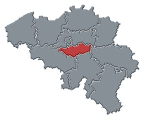 Map of Belgium, Walloon Brabant highlighted