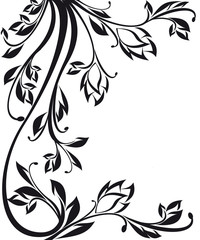 Beautiful black ornate floral design isolated on white