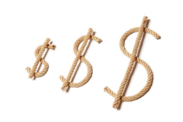 Dollar sign made from rope