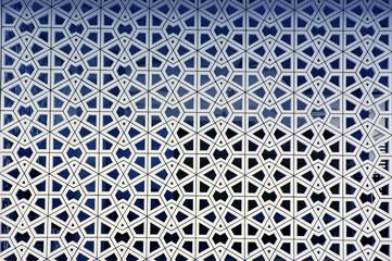 Islamic geometric pattern art on the wall of mosque