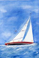 heeling sailboat painting