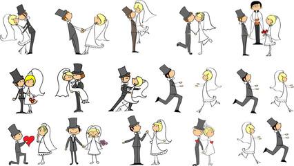 набор свадебных фотографий, жених и невеста в любви