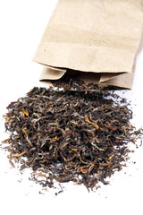 Tea scattered from a package