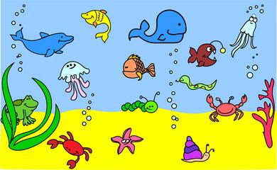 набор иконок детских морских животных