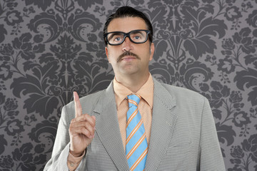 nerd retro businessman raising finger up hand gesture