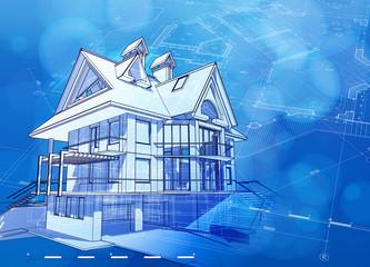 Ecology architecture design & blue bokeh