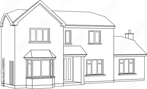A 3d Perspective Line Drawing Of A Two Storey House Stock Image And