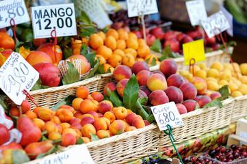 Fresh fruits on a fruit market