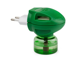 Green boottle of liquid anti-mosquito repellent