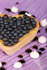 Heart-shaped tart with blueberry