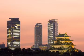 名古屋城と高層ビル