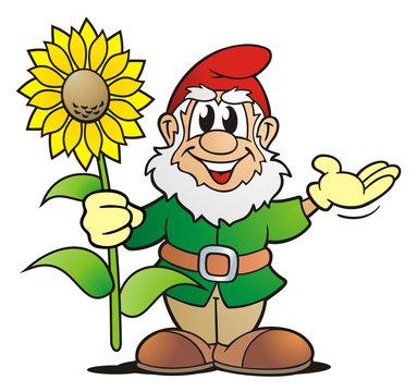 Garden Gnome with Sunflower