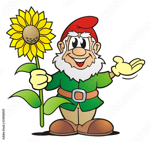 """""""garden gnome with sunflower"""" stock photo and royaltyfree"""