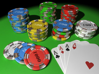 Poker Cards and Chips 3D