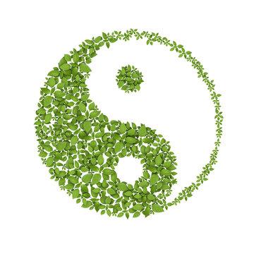 Floral yin yang symbol, natural harmonies icon