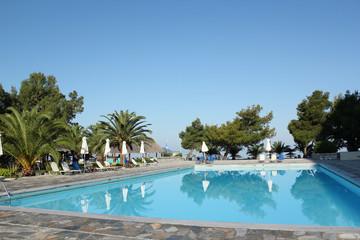 swimming pool vacation scene
