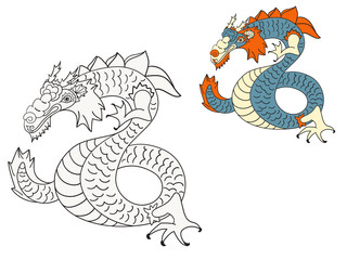 vector dragon coloring page with example in color