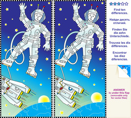 Find the differences visual puzzle - astronaut in space