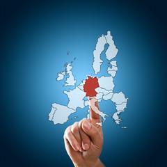 Finger wählt Deutschland aus Ländern der Euro-Zone aus