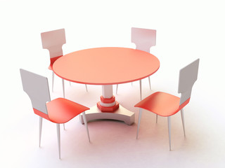 3D Round Table and Chairs in Metal and Plastic