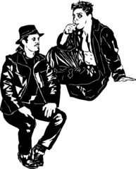 black and white drawing of two men