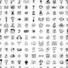 hand draw web icons seamless pattern.