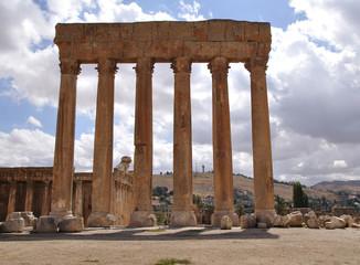 Jupiter's temple ancient Roman columns; Baalbek; Lebanon