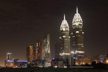 Dubai Media City at night, United Arab Emirates