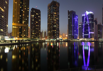 Jumeirah Lake Towers at night. Dubai