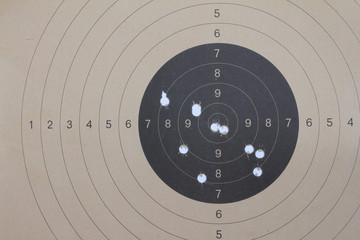 Old brown paper target for shooting practice