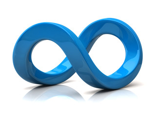 Blue infinity symbol isolated on white background