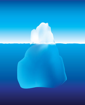 iceberg above and below the water