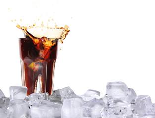 Ice splashing drink with ice cubes, isolated on white background