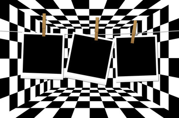 Interno a scacchi con polaroid appese personalizzabili