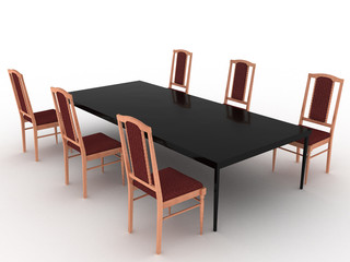 Six wooden chairs and black table of ceramics №3