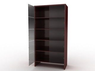 Wooden cabinet with an open glass shelf on a white background №1