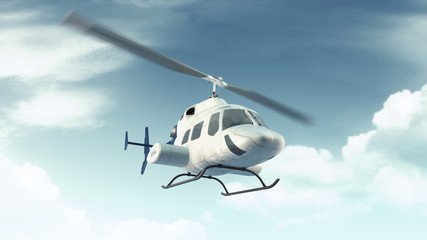 Helicopter flight in blue clouds sky