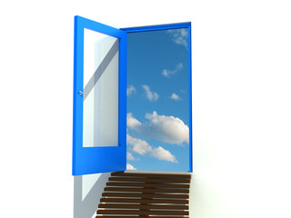 Open the door with a blue frame on a white background №1