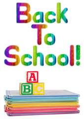 Back to School Written in Rainbow Color Wood Grain