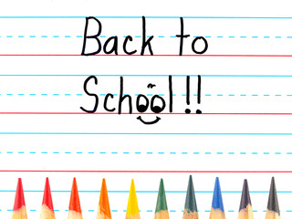 Back to School on a Dry Erase Board with Colored Pencils