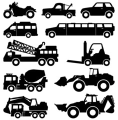 Excavator Truck Van Limousine Lorry Car Forklift Vehicle