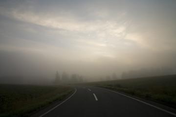 霧の中の道路