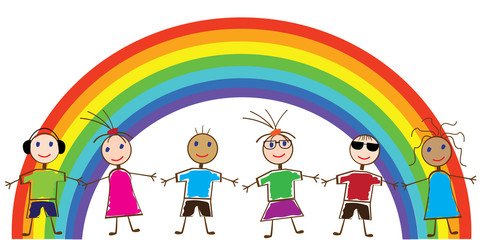 Door stickers Rainbow vector funny people and rainbow