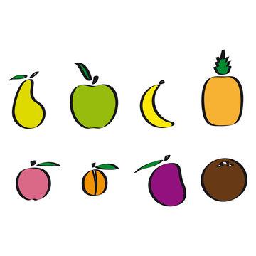 vecteur, fruits