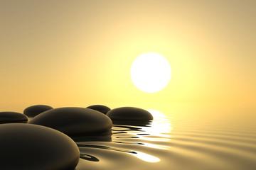 Fototapete - Zen stones in water on white background