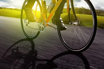 Fototapete - Bike at Sunset