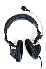 Leather headset with microphone