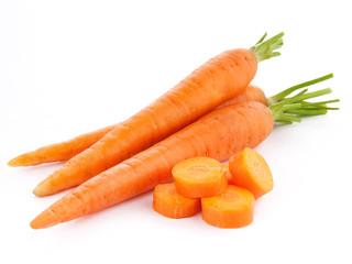 fresh carrots isolated on white background.